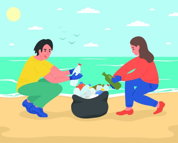 Environmental volunteer activists cleaning sea beach. Vector illustration